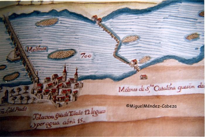 Detalle del plano del proyecto de navegación del Tajo de Carduchi del siglo XVII