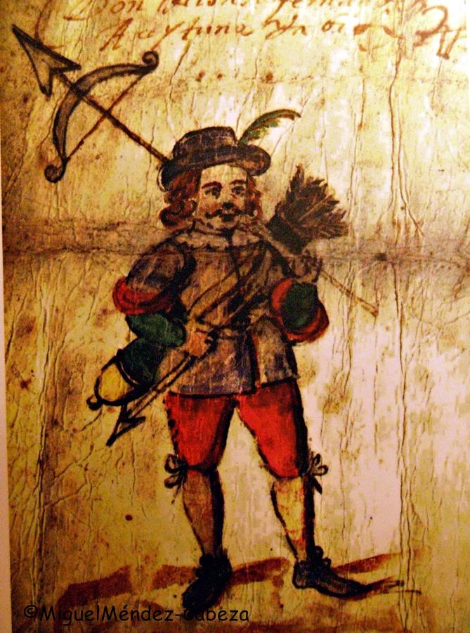Cuadrillero de la Santa Hermandad pintado en una de las causas criminales de La Santa Hermandad que se guardan en el archivo municipal de Talavera