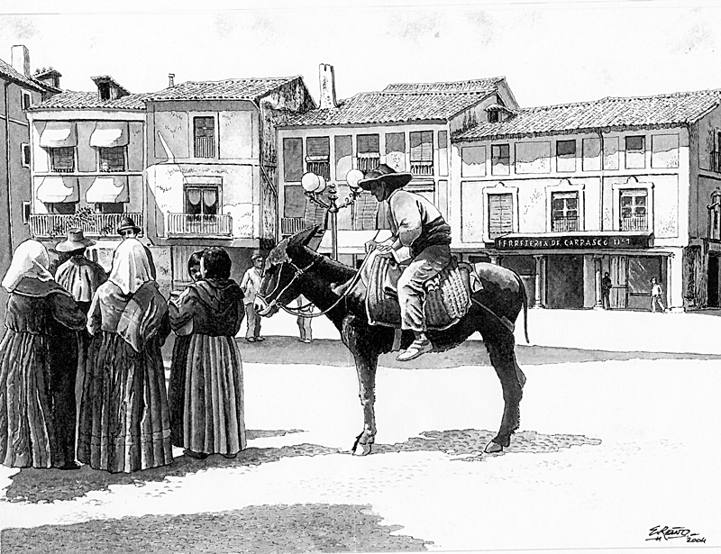 Escena costumbrista en la Plaza del Reloj recreada por Enrique Reaño sobre una foto antigua