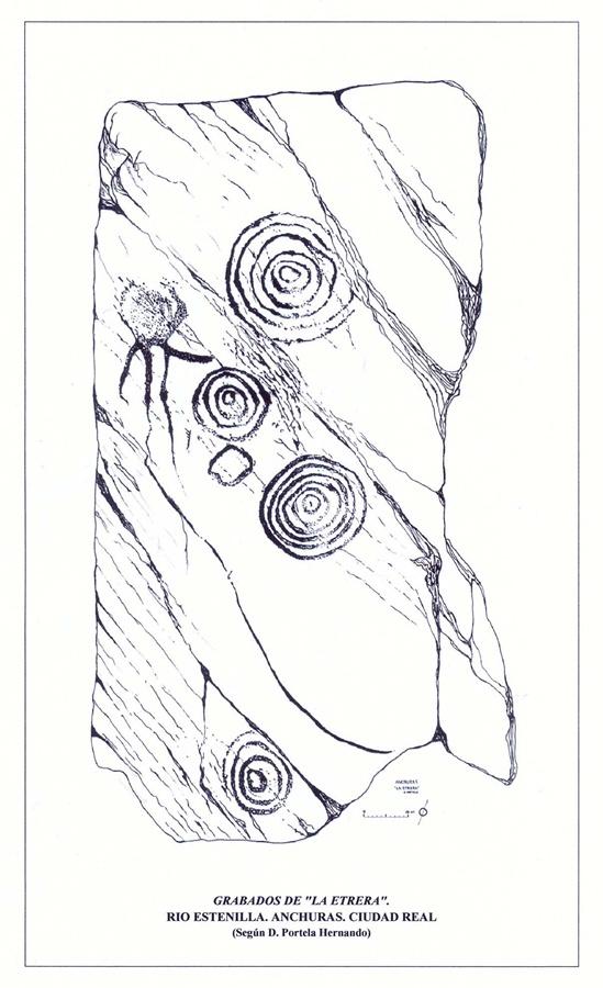 Dibujo esquemático sobre los grabados rupestres de La Etrera en el río Estenilla de Anchuras