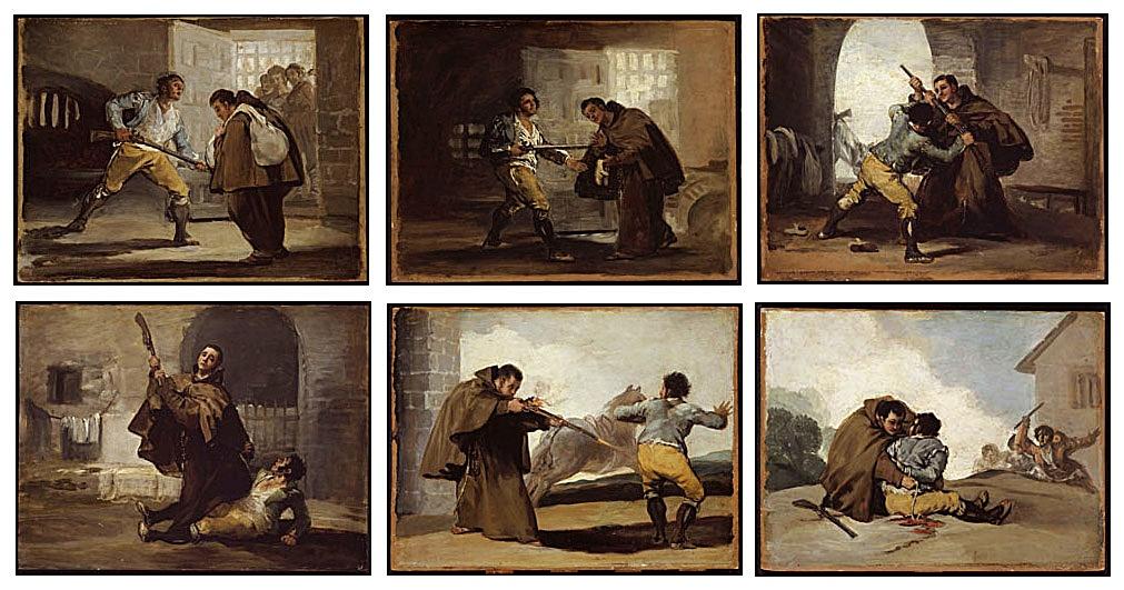 """Seis cuadro o """"viñetas"""" de Goya que representan el apresamiento del bandido Maragato por un fraile de Rosarito"""