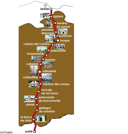 Plano con el recorrido de la Ruta de Carlos V