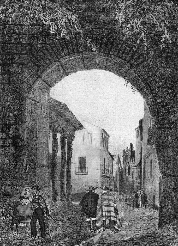 Grabado del siglo XIX donde se aprecia la Puerta de Zamora y a la izquierda las columnas decoradas del pórtico de la cárcel de la Santa Hermandad