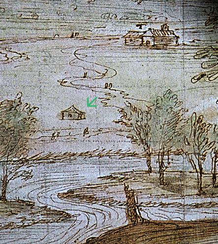 Ermita de San Joaquín y Santa Ana en el dibujo de Van der Wingaerde de Talavera de la Reina