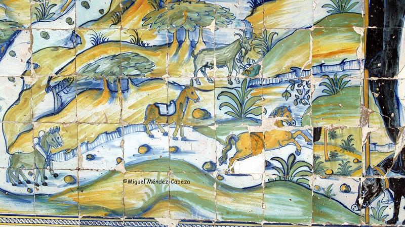 Detalle del panel anterior donde aparecen los animales, de los que el santo es protector