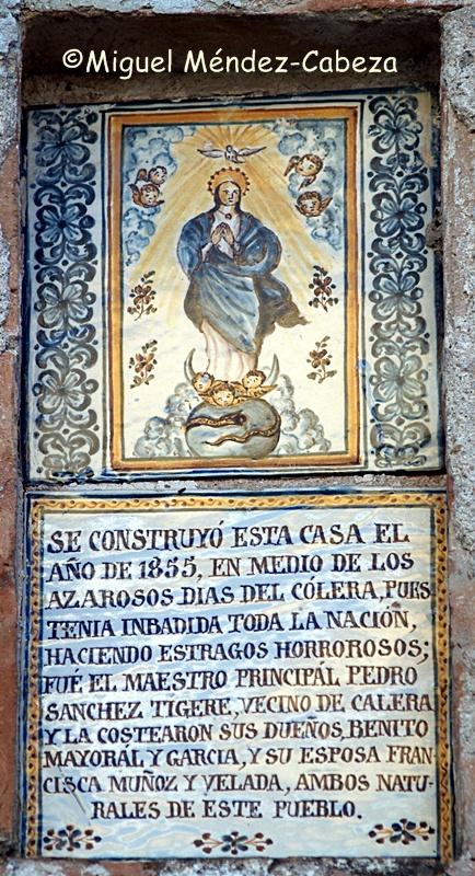 Azulejo de Cerámica talaverana con referencia a la epidemia de cólera del siglo XIX