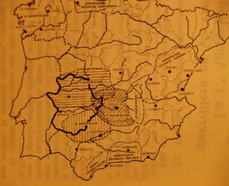 Mapa de la Agrupación del Centro de la resistencia antifranquista