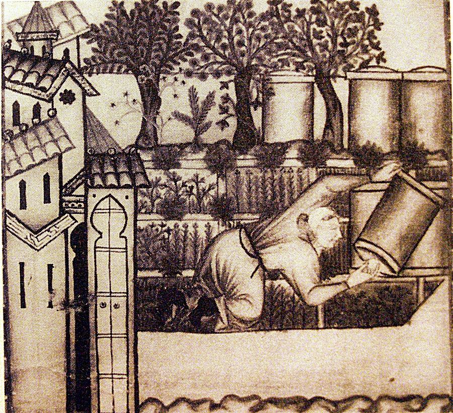 Imagen medieval que representa un huerto con colmenas