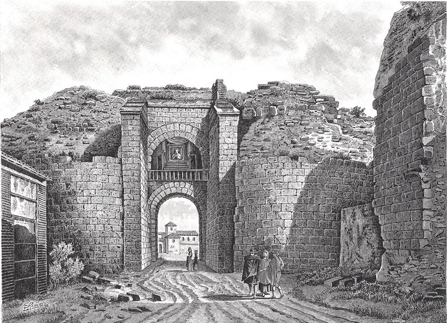 Dibujo de Enrique Reaño sobre el grabado de Laborde de la Puerta de Mérida