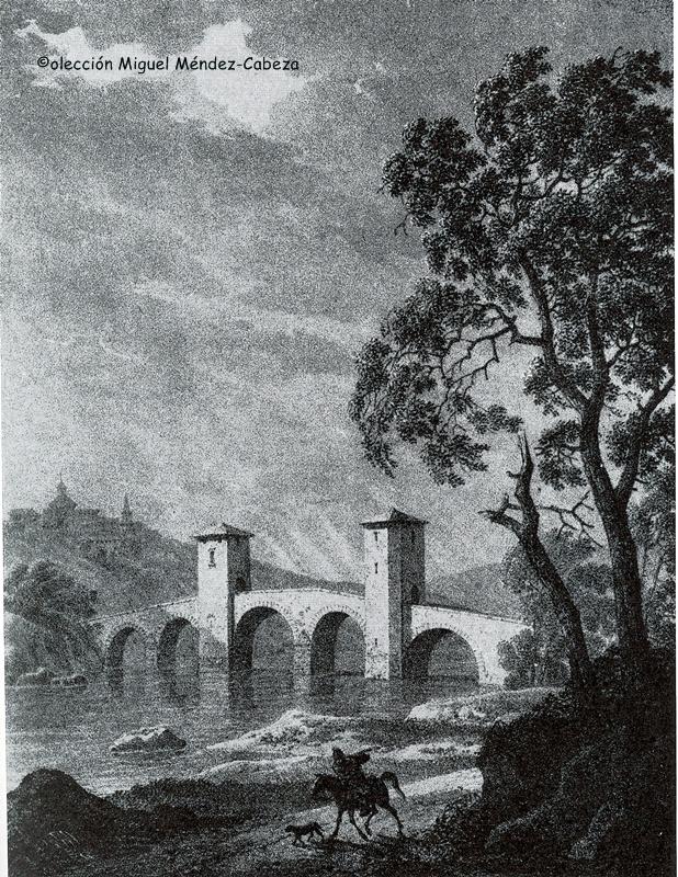 Grabado del siglo XIX que representa el puente idealizado del Arzobispo Tenorio todavía con sus torres