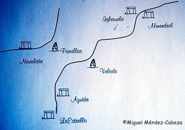 Plano de monumentos megalíticos de la comarca talaverana