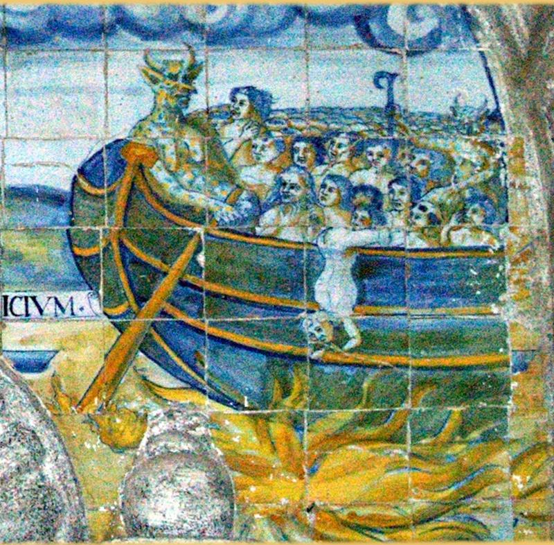 Curioso panel que representa a Caronte como demonio llevando a las almas por la laguna Estigia