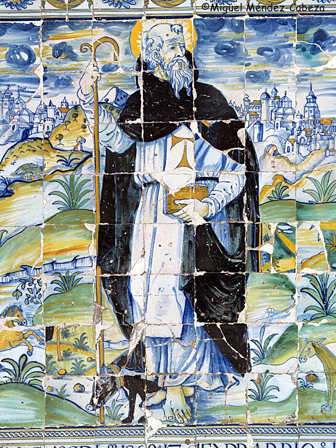 Panel de azulejos representando a San Antonio Abad procedente de su antiguo hospital, hoy en la ermita de El Prado. Siglo XVI