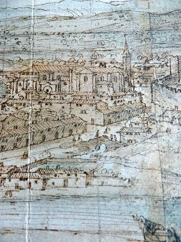 Fragmento de la pintura de Van der Wingaerde del siglo XVI donde aparece el Puente Moris y al fondo Santo Domingo