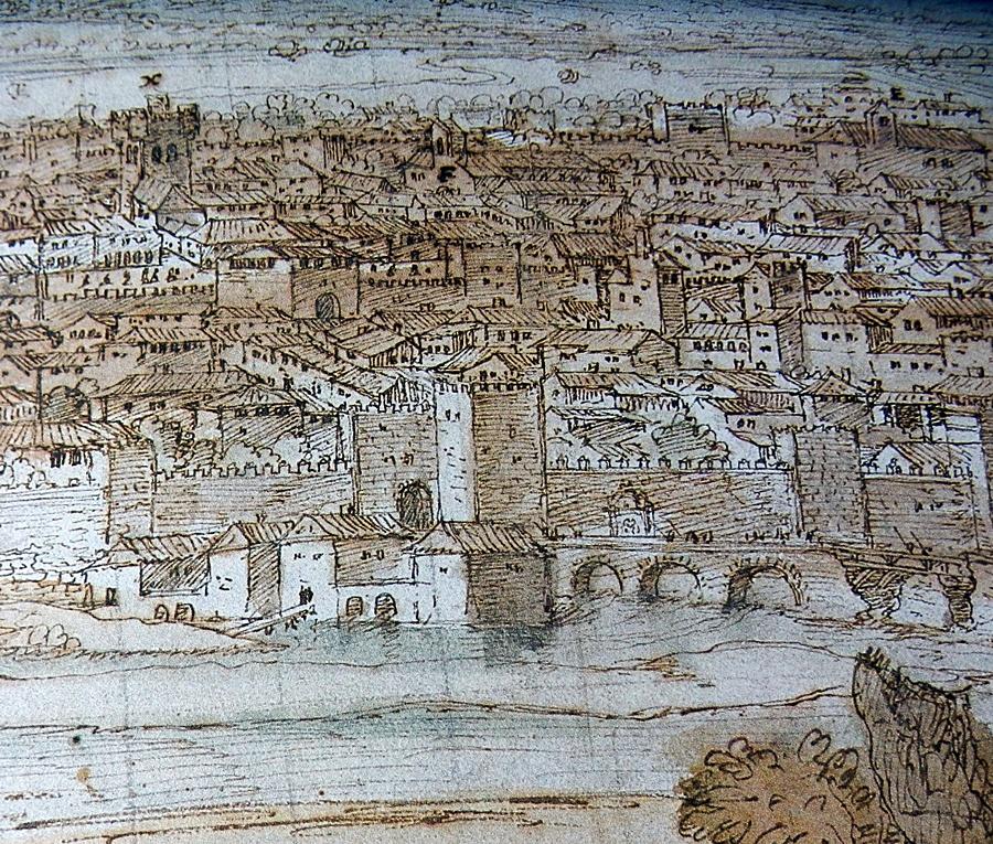 Dibujo de Van den Wingaerde del siglo XVI con la Puerta del Río y Molinos del primer ojo del puente