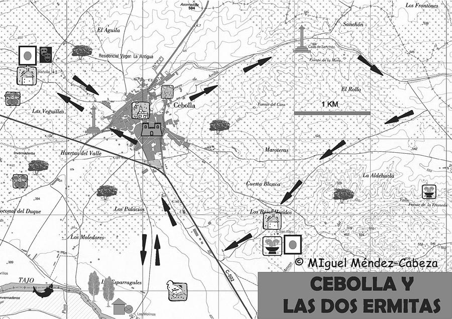Plano de la ruta Cebolla y us dos ermitas