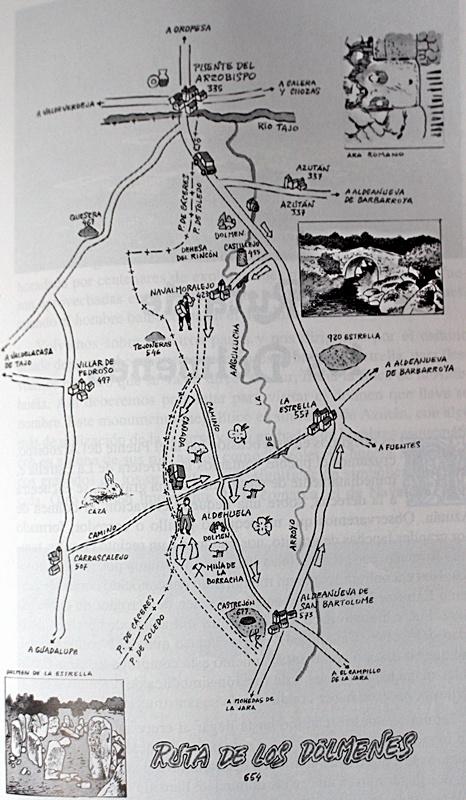 Esquema de la Ruta de los Dólmenes dibujada por Jose María Perianes para mi libro agotado Rutas y Senderos de Talavera y Comarcas