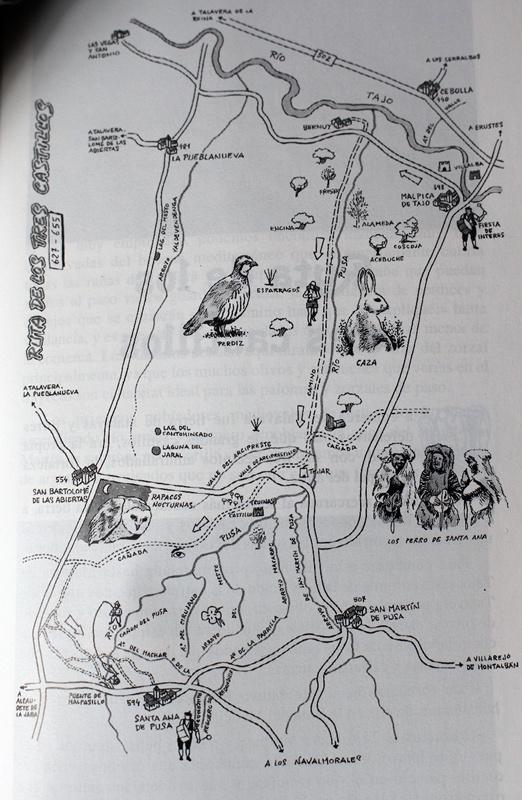 Esquema del recorrido de la ruta descrita de mi libro Rutas y Senderos de talavera y Comarca. Autor del dibujo de Jose maría Perianes