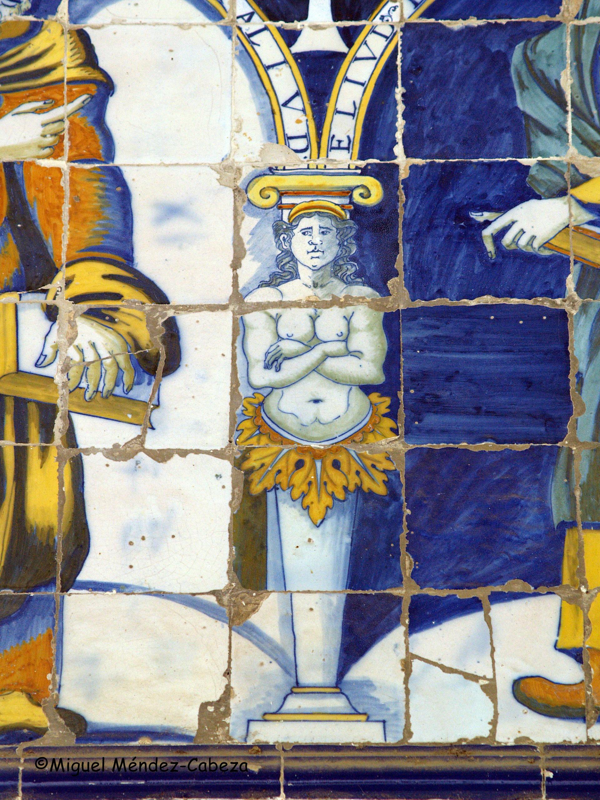 Detalle de la cerámica del siglo XVI del pórtico de la ermita, Genealogía de Cristo