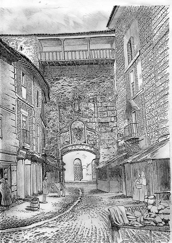 Dibujo de Enrique Reaño sobre foto antigua del arco o puerta de San Pedro de Talavera