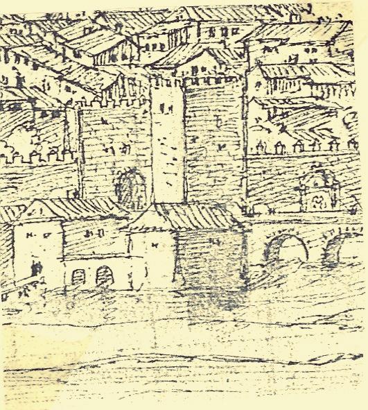 Molinos del primer ojo del puente en el dibujo de Van der Wingaerde