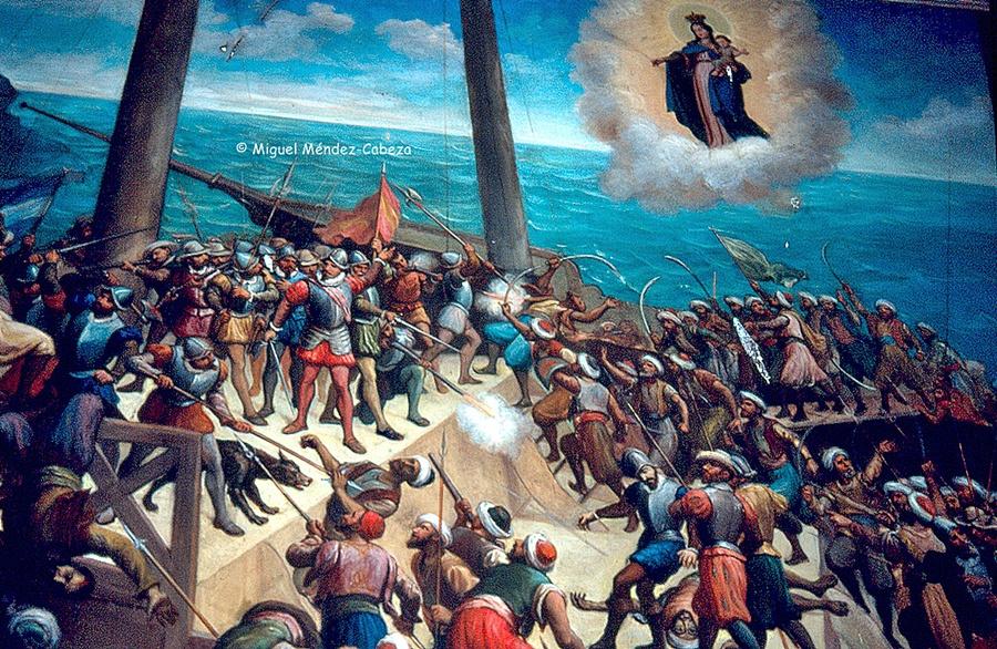 Cuadro de la ermita de Chilla en el que se representa el milagro de la salvación de marinos de mejorada que se encomendaron a ella en una batalla naval.