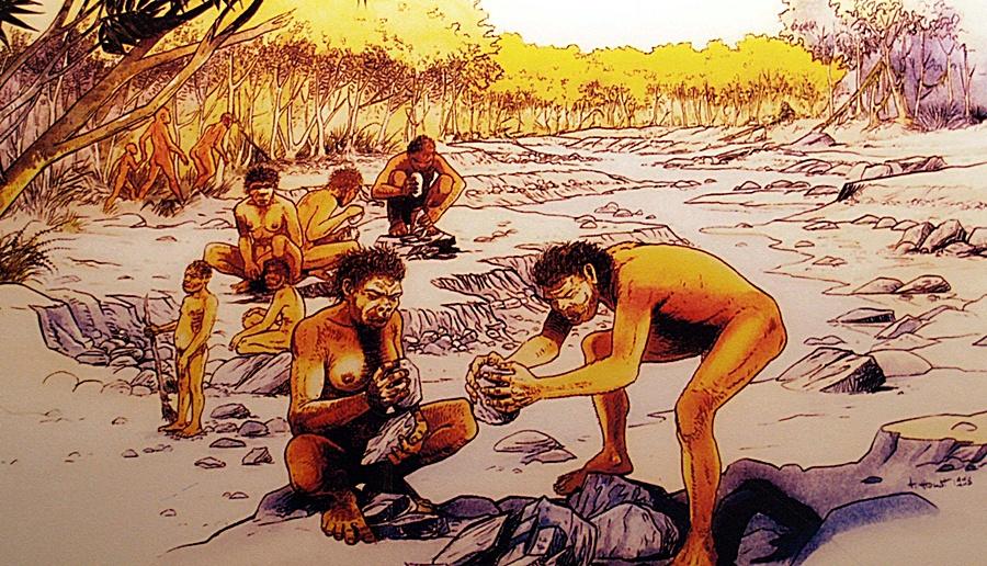 Recreación de un taller del paleolítico en el museíllo de los yacimientos de El Bercial
