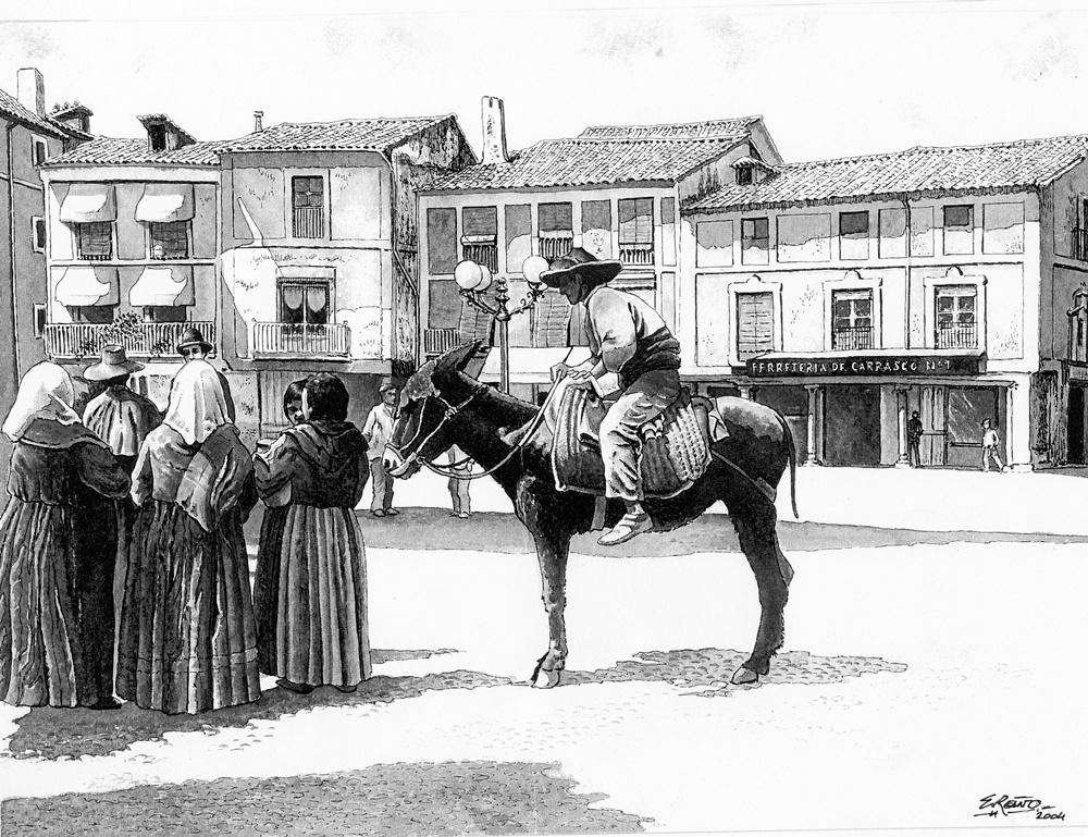 Dibujo de Enrique Reaño sobre una fotografía antigua de la plaza del reloj