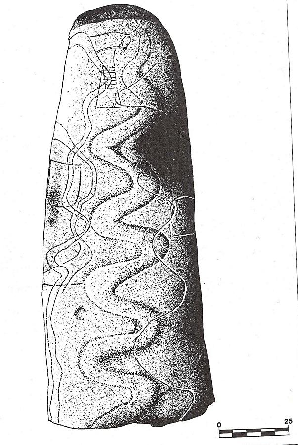 Dibujo del ortostao de la entrada del dólmen de navalcán con la serpiente grabada, según dibujo del libro de la profesora Primitiva Bueno sobre su excavación