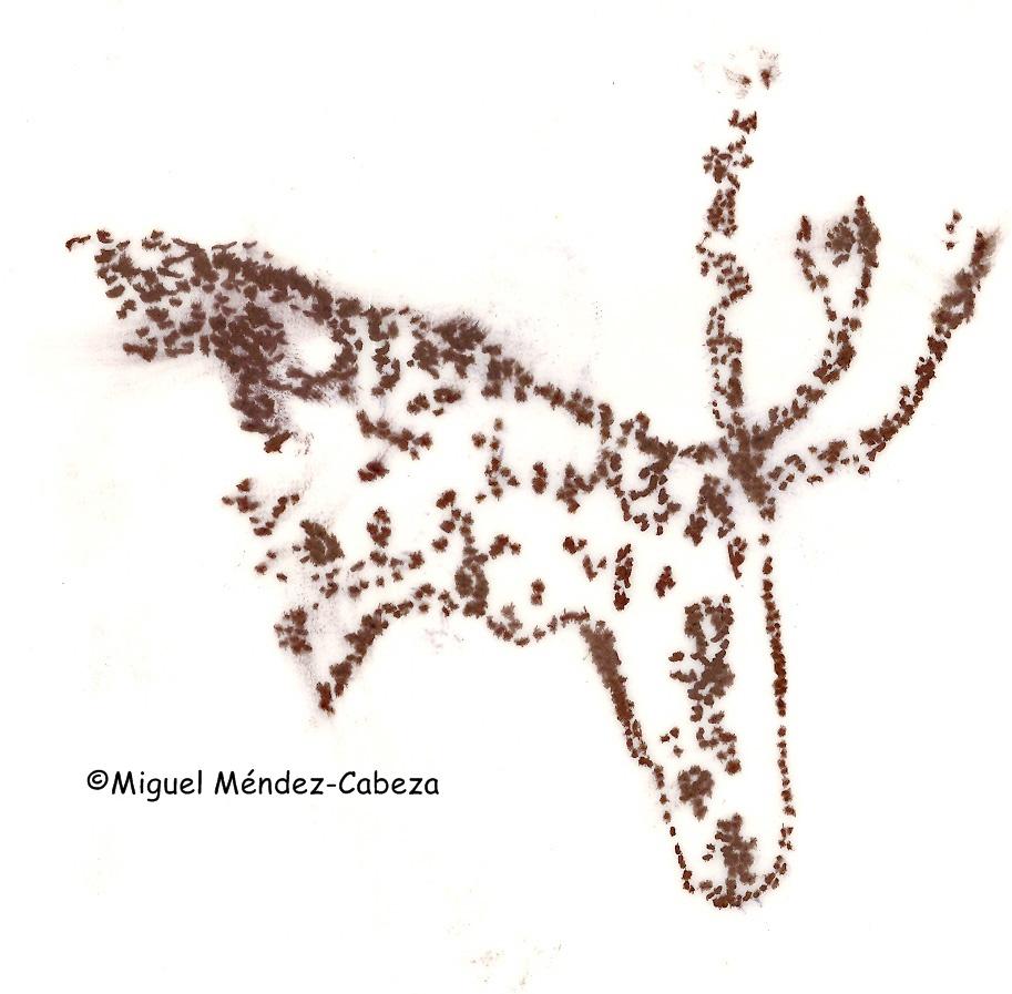 Calco de un grabado de la Edad del Bronce de El Martinete en el río Jébalo. Representa la cabeza de un ciervo