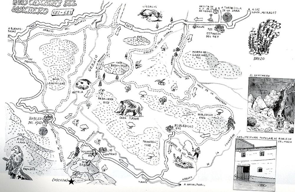 Dibujo que representa la ruta de las cascadas de el arroyo de Las Lanchas