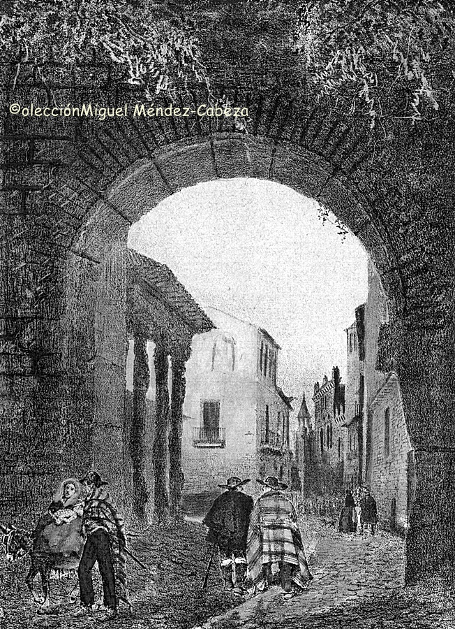 La Puerta de Zamora. La torre que queda actualmente, a la izquierda del grabado, formaba parte de la cárcel de la Santa Hermandad, cuyas columnas se perciben también.