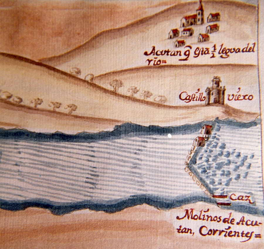 Plano del proyecto de navegación del Tajo de Carducci del siglo XVII . Aguas arriba se situaba el Puente de Pinos, próximo al muro del embalse del mismo nombre