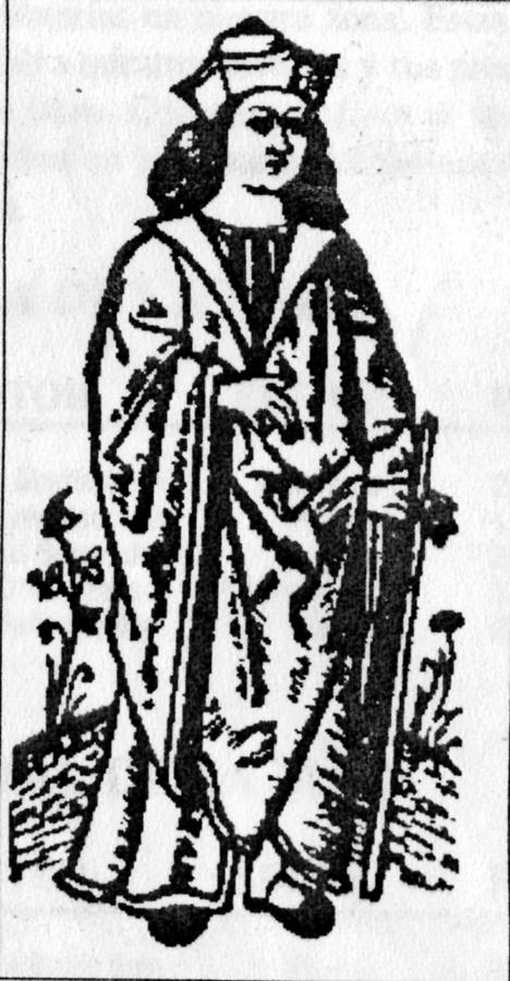 Una ilustración que representa a Fernando de Rojas como bachiller en una de las primeras ediciones de La Celestina