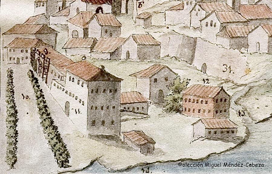 Detalle de un dibujo que se halla en la Biblioteca Regional en el que se ven con el número 12 la casa de la Hilanza y con el 11 el de la Afinaduría