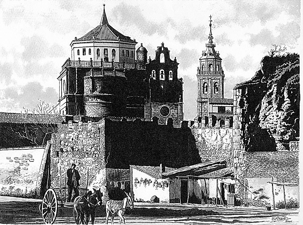 Dibujo de Enrique Reaño sobre una foto antigua que muestra los arruinados muros de la alcazaba