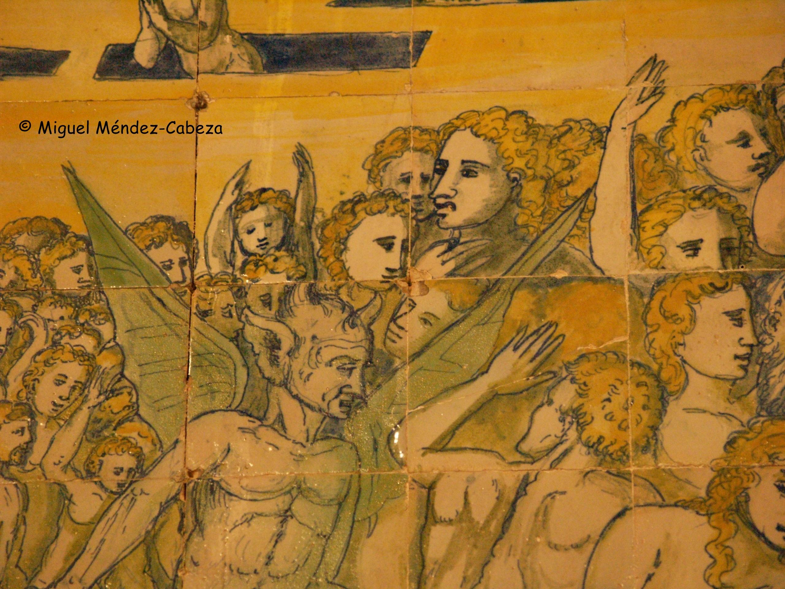 Representación de los demonios llevando las almas condenadas en el Juicio Final en azulejería de Piedraescrita