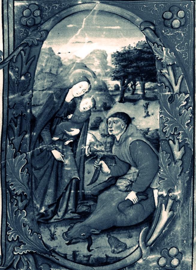 Imagen que muestra la aparición de la Virgen a Gil Cordero indicándole donde se halla la imagen de Guadalupe