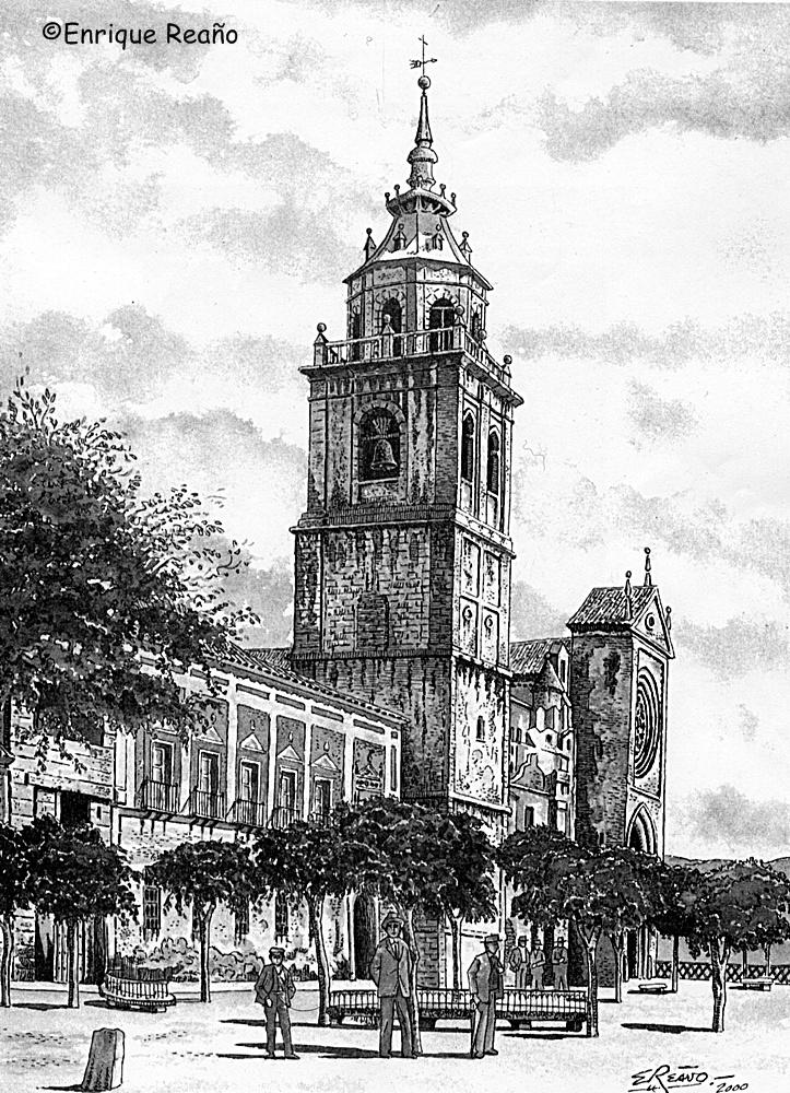 Dibujo de Enrique Reaño sobre postal de los años 20 que representa la Plaza del Pan