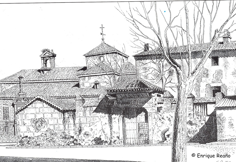Dibujo con la portada del palacio de Velada y al fondo el convento franciscano fundado por los marqueses en dibujo de Enrique Reaño