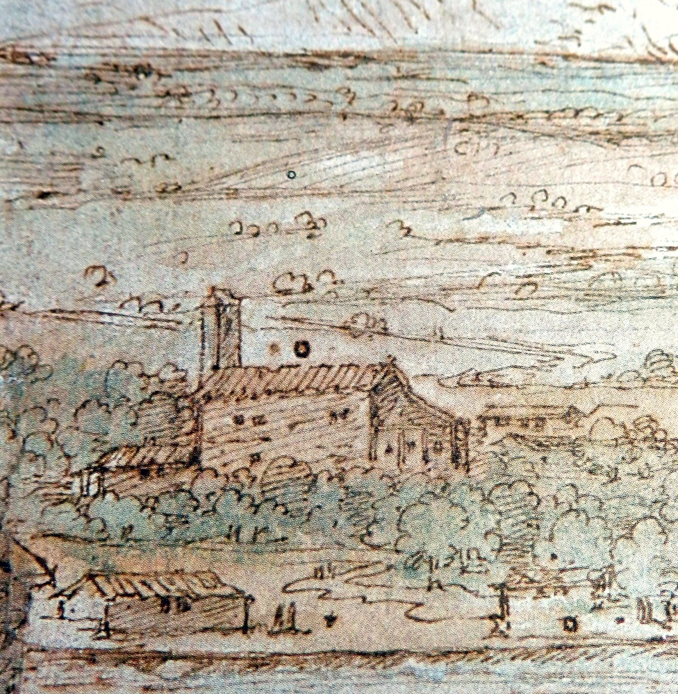 Detalle del dibujo del sigloXVI de Van der Wingaerde donde se ve la ermita de la Magdalena con su espadaña y su ábside mudéjar
