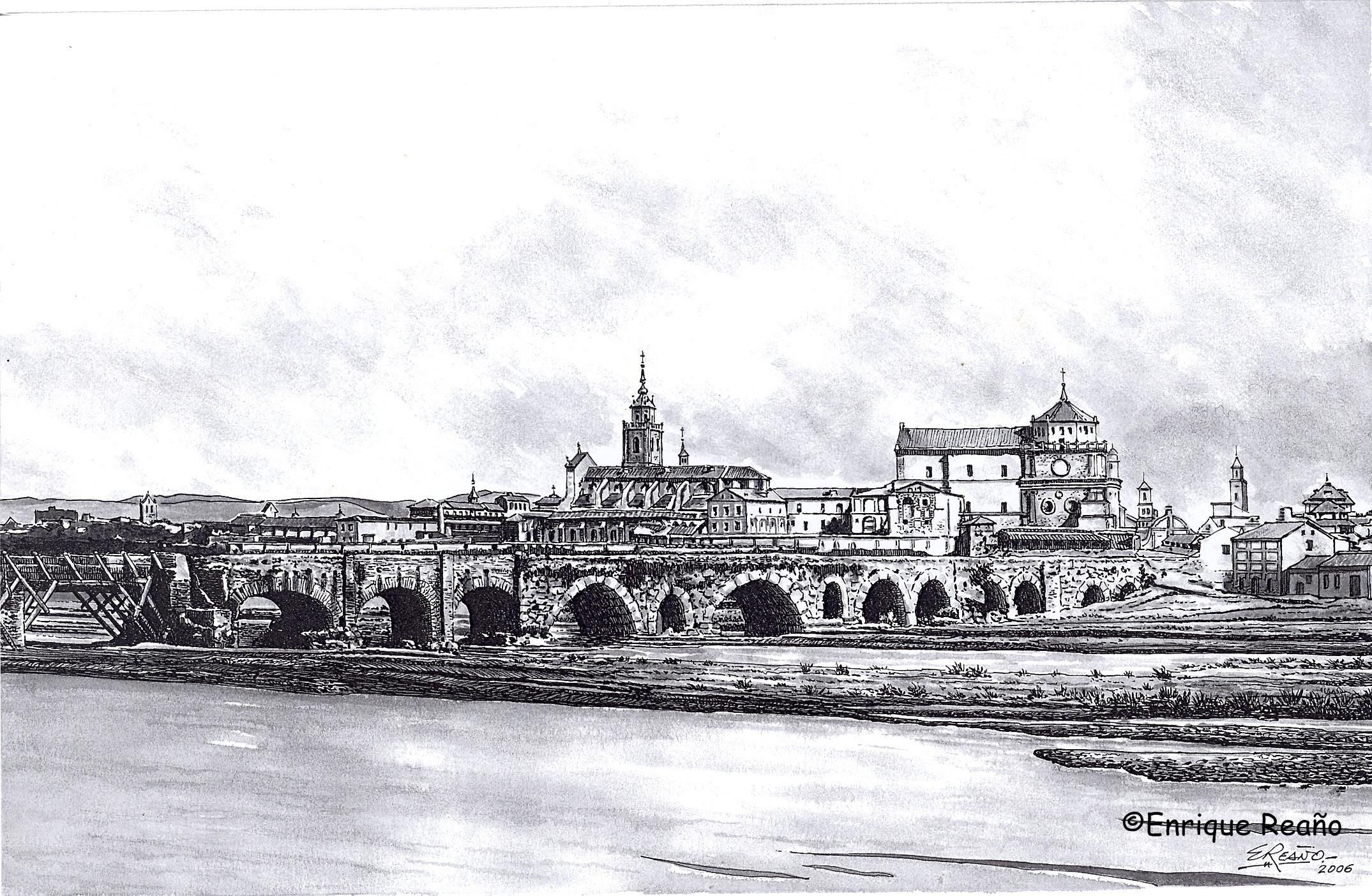 El puente viejo como siempre arruinado en un dibujo de Enrique Reaño sobre foto de Clifford
