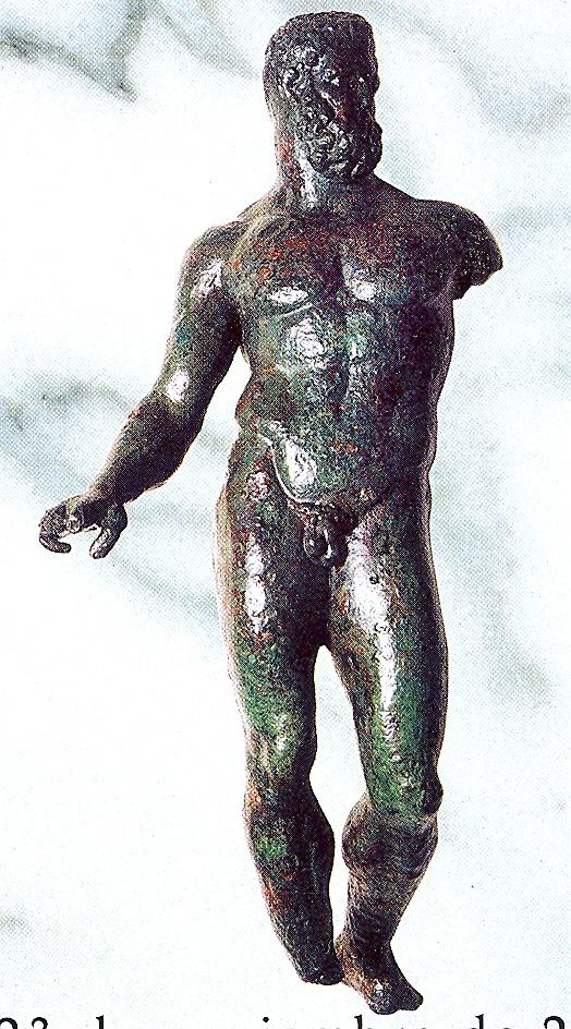 Escultura romana de bronce que representa a Hércules hallada en Talavera de la Reina. Folleto de una exposición del COLECTIVO ARRABAL