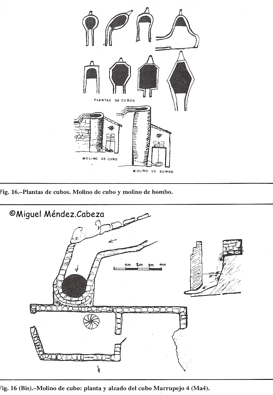 Plantas de molinos de cubo y croquis que representa la plnata de un molino con este tipo de receptor