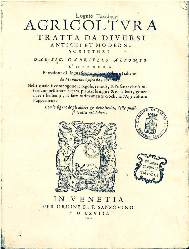Portada de la edición italiana del Libro de Agricultura de gabriel Alonso de herrera