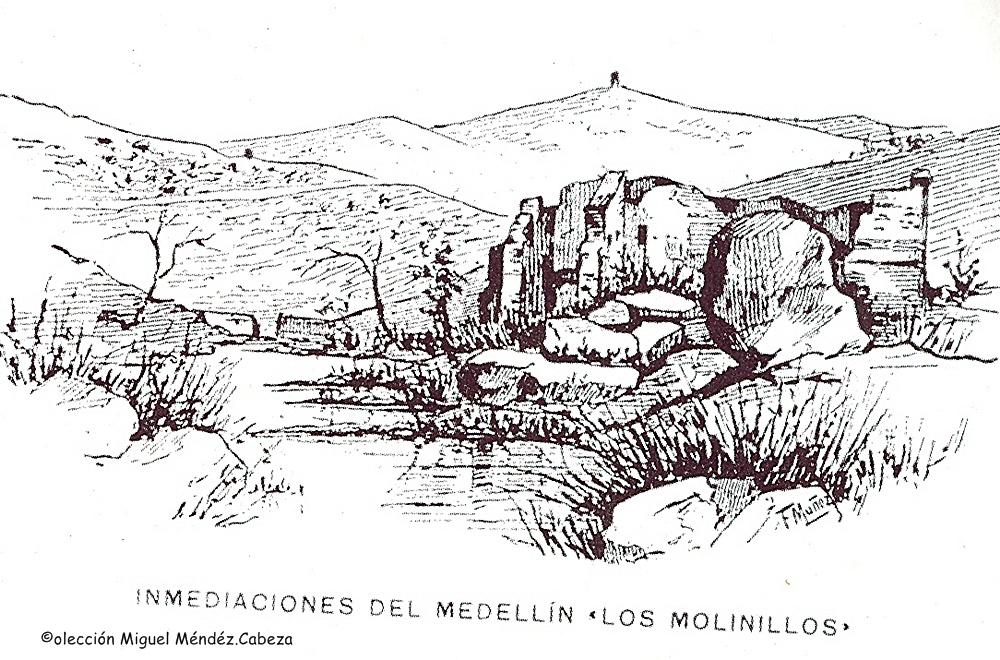 Dibujo de 1909 que representa el paraje de Los Molinillos de la Portiña al que se alude en el texto