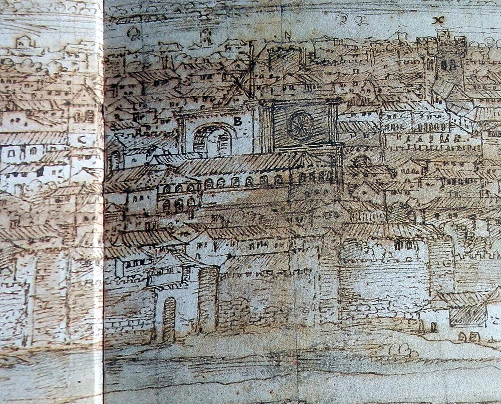 Vista de Van der Wingaerde del caserío talaverano en el siglo XVI con la capilla mayor de Santa catalina en construcción.