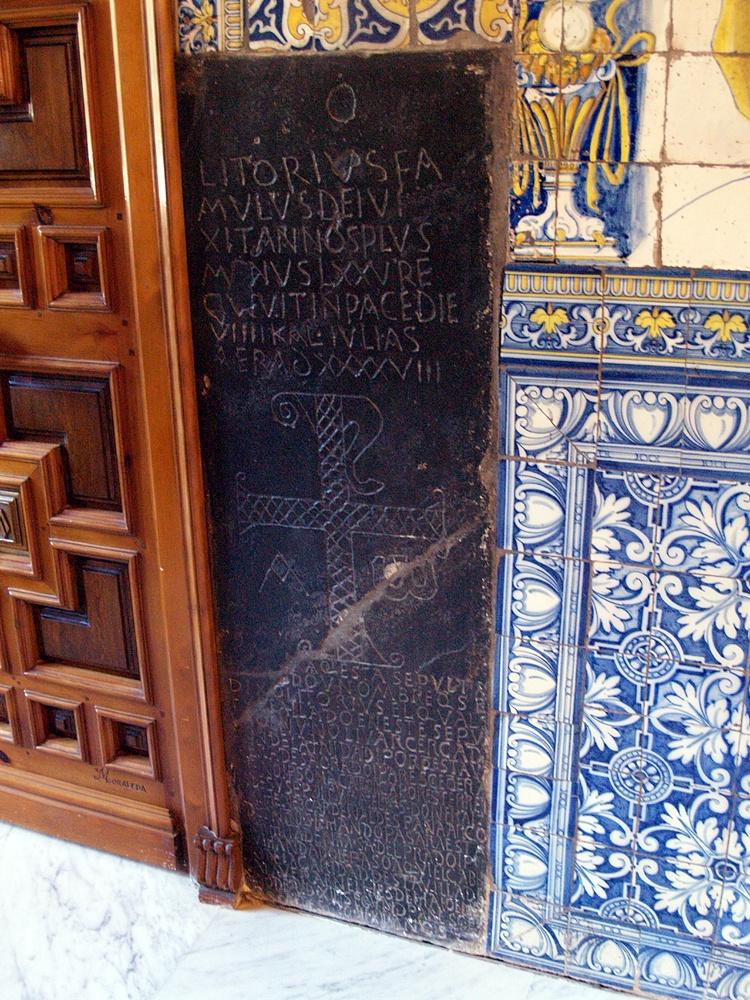 Lápida de Litorio en la ermita del prado, uno de los más importantes elementos arqueológicosde los primeros cristianos en españa en España