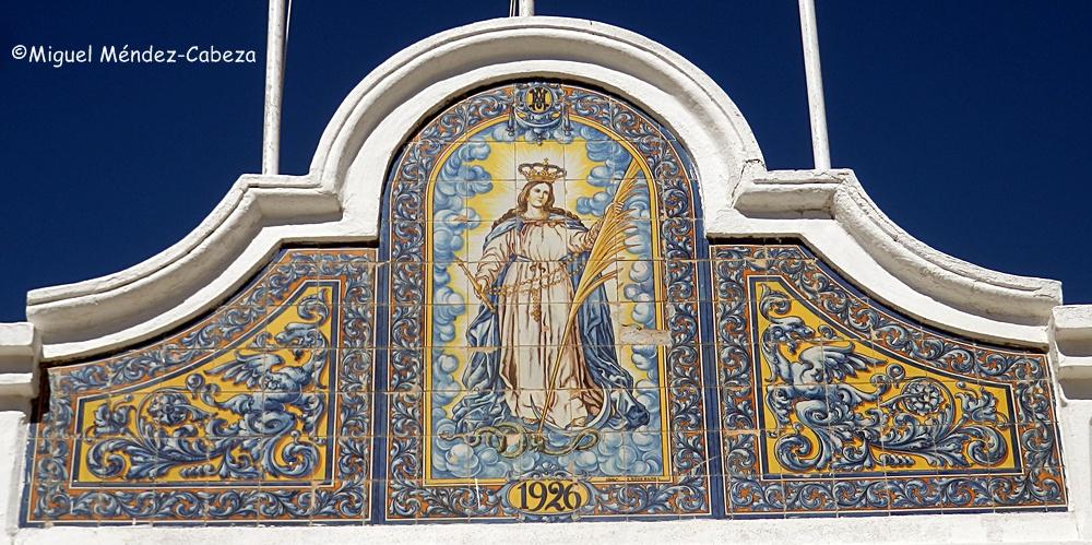 Panel de la entrada de La Caleta en Cádiz
