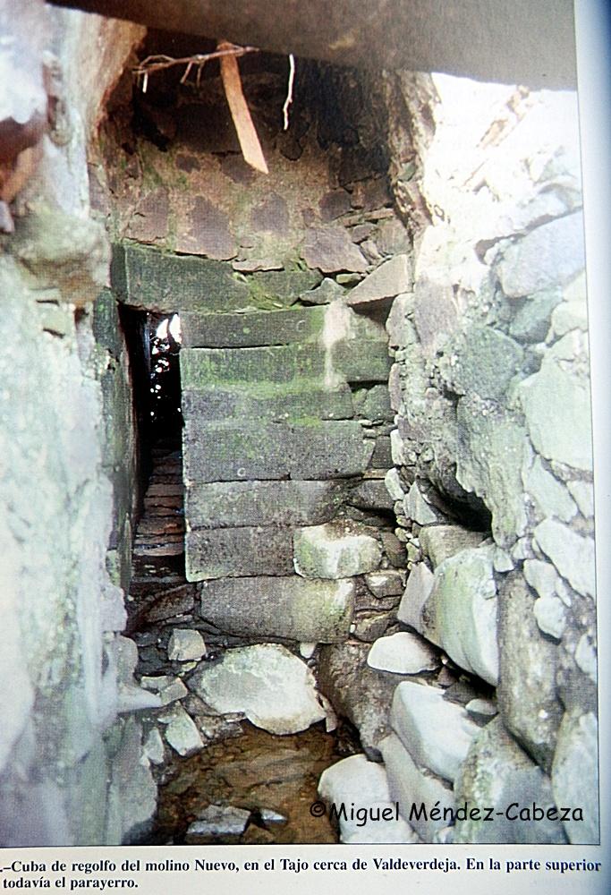 Restos de la cuba de piedra de un molino de regolfo